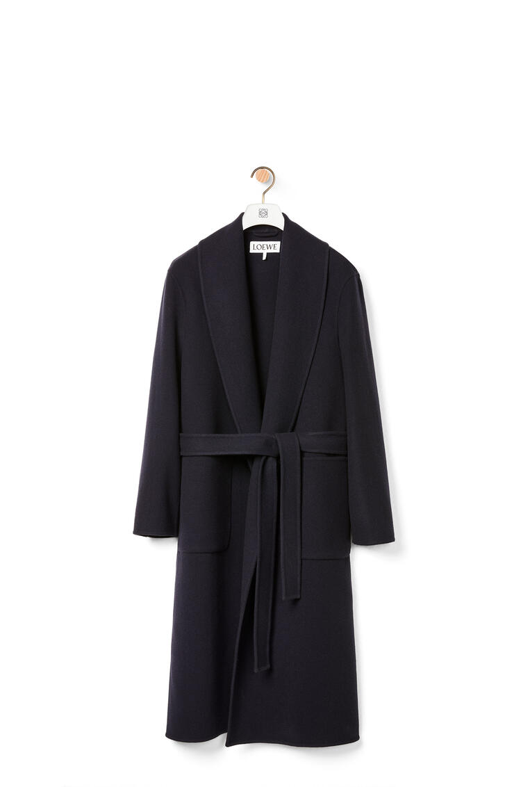 LOEWE Abrigo en lana y cachemira con cinturón Marino pdp_rd