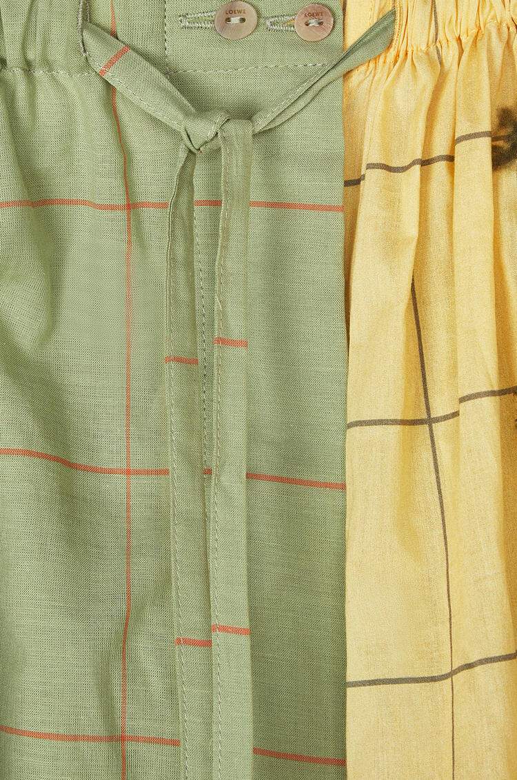 LOEWE Drawstring Shorts In Check Cotton Green/Yellow pdp_rd