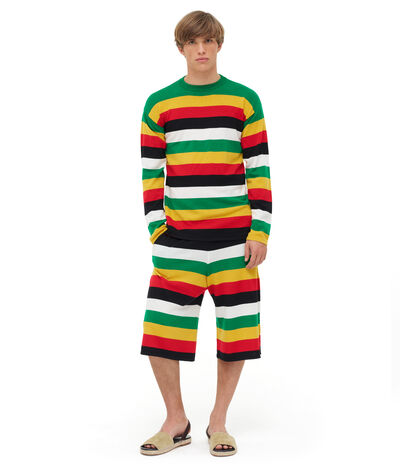 LOEWE Stripe Knit Shorts Green/Yellow front