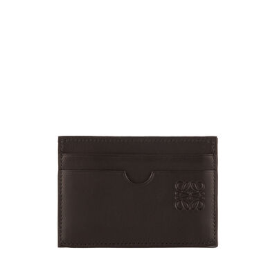 LOEWE Plain Card Holder Black/Kakhi Green front