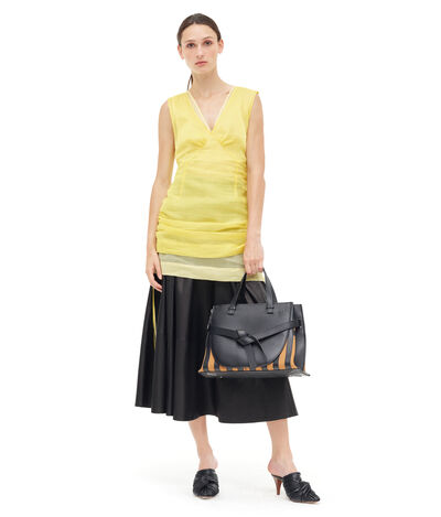 LOEWE Organdy Double Layer Minidress Yellow front