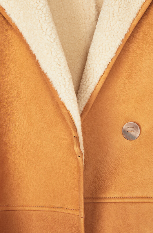 LOEWE Shearling Coat Gold/White front