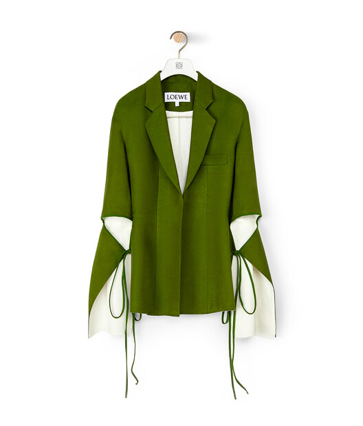 LOEWE Tie Cut Panel Sleeve Jacket Khaki Green/White front