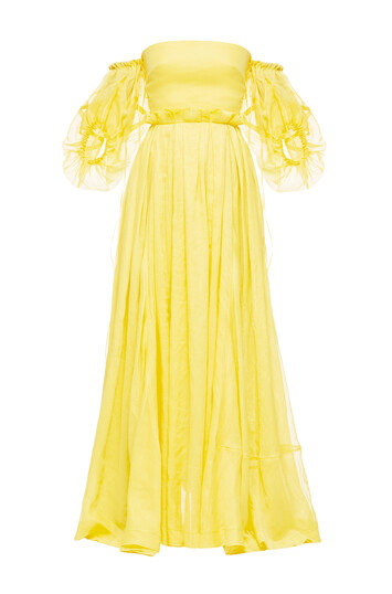 LOEWE Off Shoulder Ball Gown Yellow front