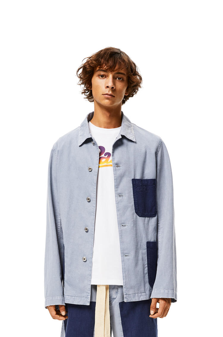 LOEWE Contrast Patch Workwear Jacket In Cotton Indigo/Light Blue pdp_rd
