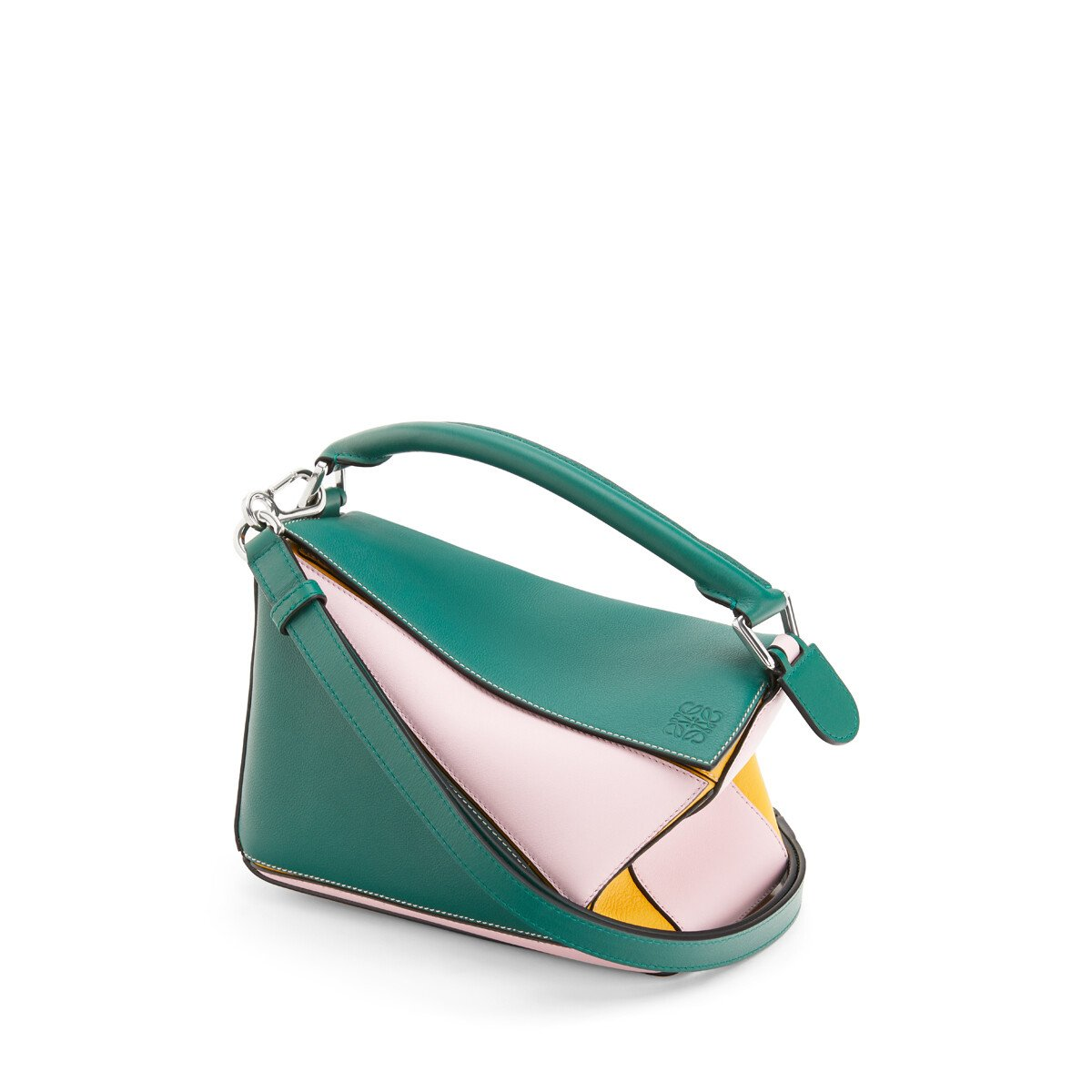 LOEWE Puzzle Small Bag Green/Pastel Pink front