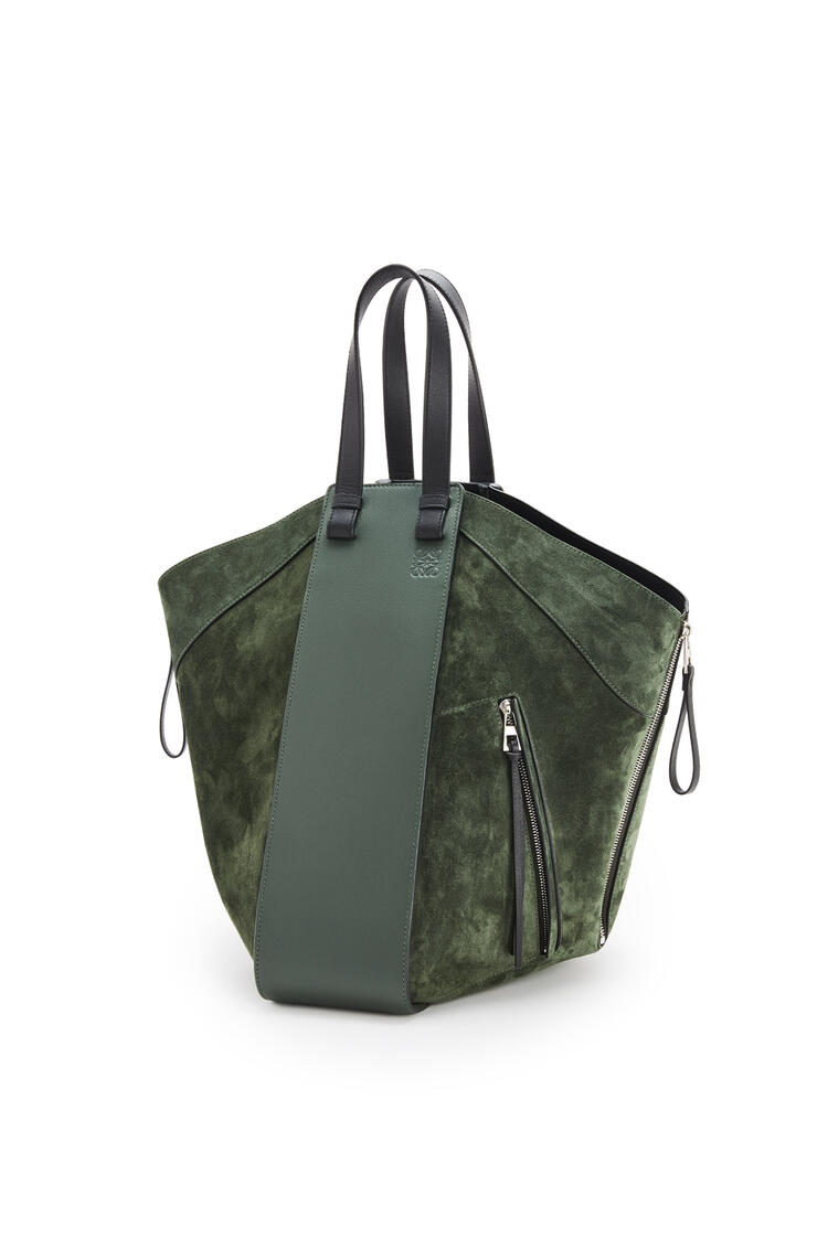 LOEWE Hammock tote bag in calfskin and suede Vintage Khaki/Black pdp_rd
