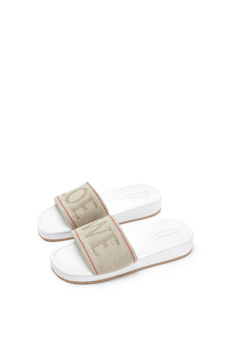 LOEWE Slider in nappa and linen Natural/White pdp_rd