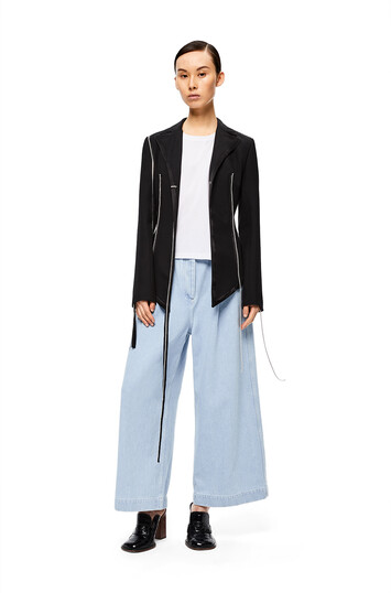 LOEWE Drawstring Cropped Trousers Azul Claro front