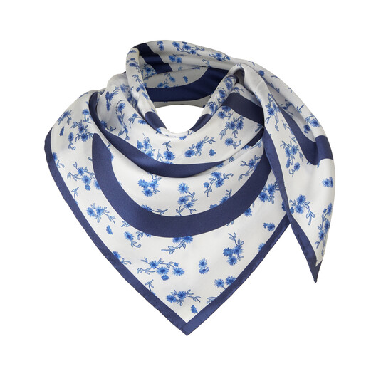 LOEWE 90X90 フラワー スカーフ ブルー front