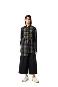 LOEWE Long asymmetric patchwork shirt in check wool Black/Grey pdp_rd