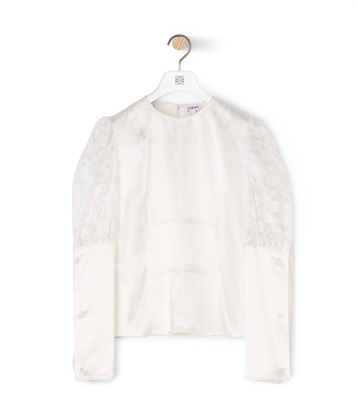 LOEWE Balloon Sleeve Satin Top Blanco front