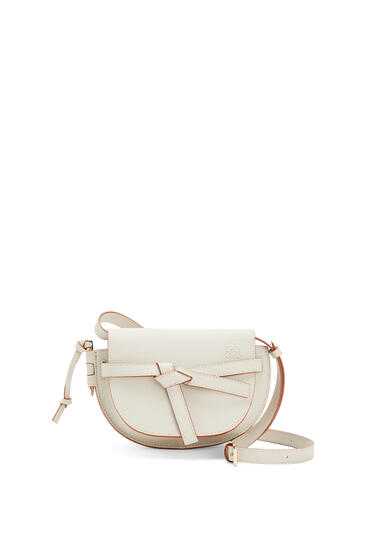 LOEWE Mini Gate dual bag in pebble grain calfskin Light Ghost pdp_rd