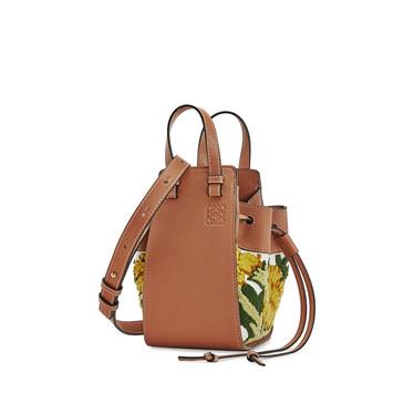LOEWE Hammock Drawstring Floral Mini Bag Yellow front