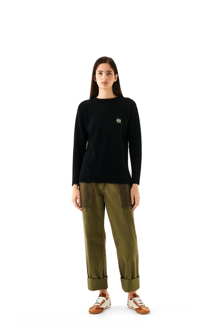 LOEWE Anagram Embroidered Sweater In Wool Black pdp_rd