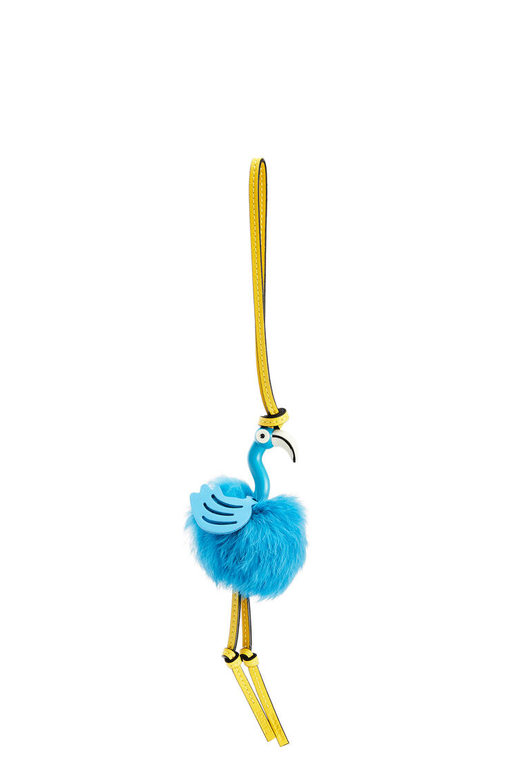 LOEWE Flamingo charm in feathers and calfskin Topaz Blue pdp_rd