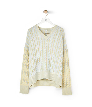 LOEWE Cable V Neck Sweater Grey/Pink front