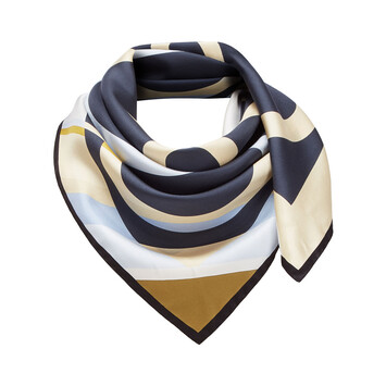 LOEWE 90X90 Scarf Stripe Anagram Marino Oscuro front