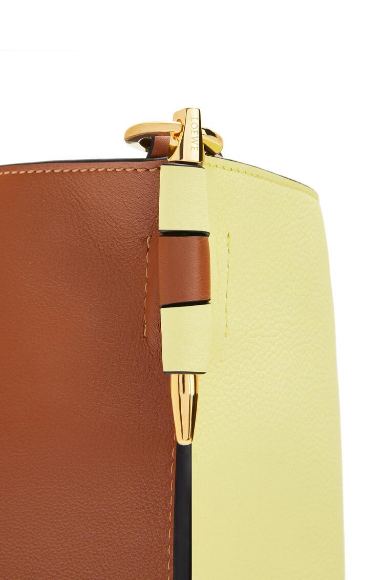 LOEWE Gate bucket bag in soft grained calfskin and raffia Light Yellow/Tan pdp_rd