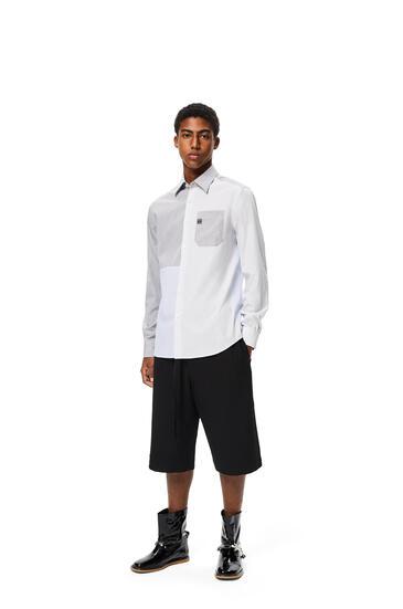 LOEWE Camisa en patchwork de algodón a cuadros Blanco/Azul/Negro pdp_rd