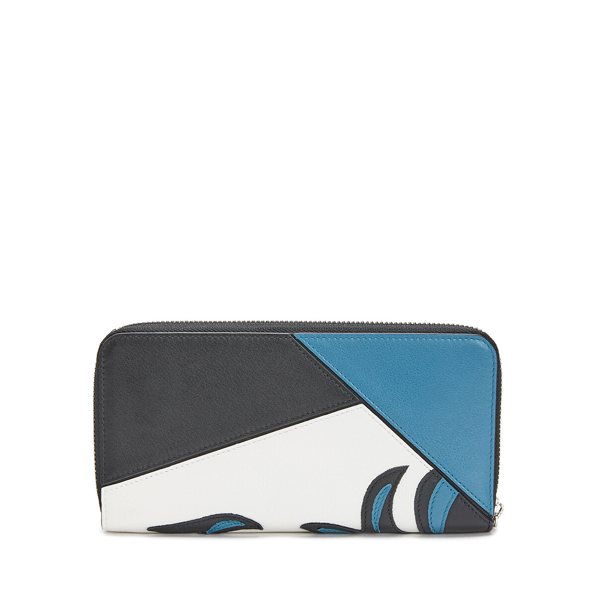 LOEWE Puzzle Ziparound Wallet Cowboy Black/Light Blue front