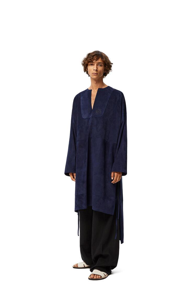 LOEWE Long tunic in suede Navy Blue pdp_rd