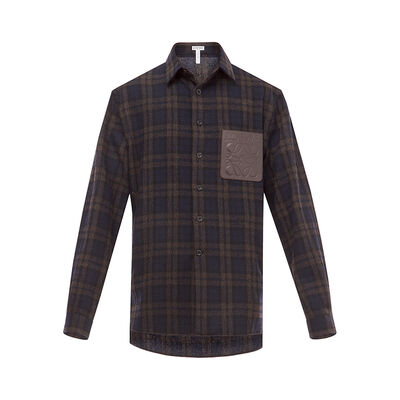 LOEWE Check Overshirt Navy Blue/Brown front