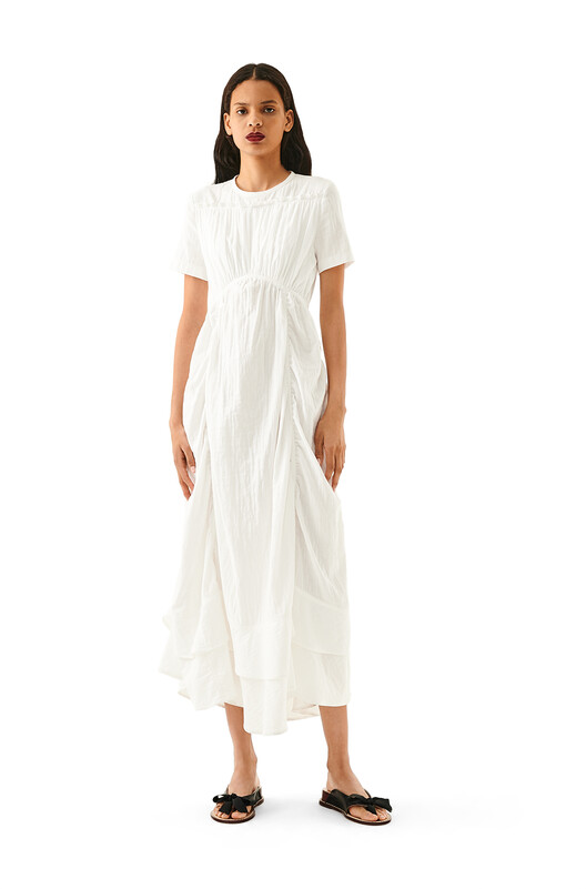 LOEWE Ruffle Gathered Dress White front