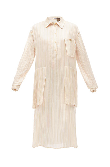 LOEWE Paula Stripe Crinkle Shrtdress Beige/White front