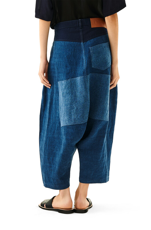 LOEWE Oversize Cropped Trousers Azul Multitono front