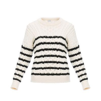 LOEWE Stripe Cable Knit Sweater White/Black front