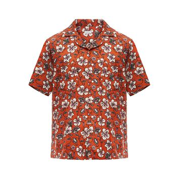 LOEWE Short Sleeve Shirt Flowers Blanco/Marron front