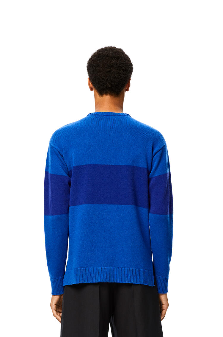 LOEWE Anagram embroidered sweater in striped wool Blue/Electric Blue pdp_rd