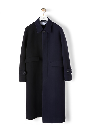LOEWE Asymmetric Coat Navy Blue/Black front