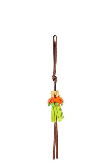 LOEWE Elephant on flower charm in calfskin Neon Orange/Neon Yellow pdp_rd