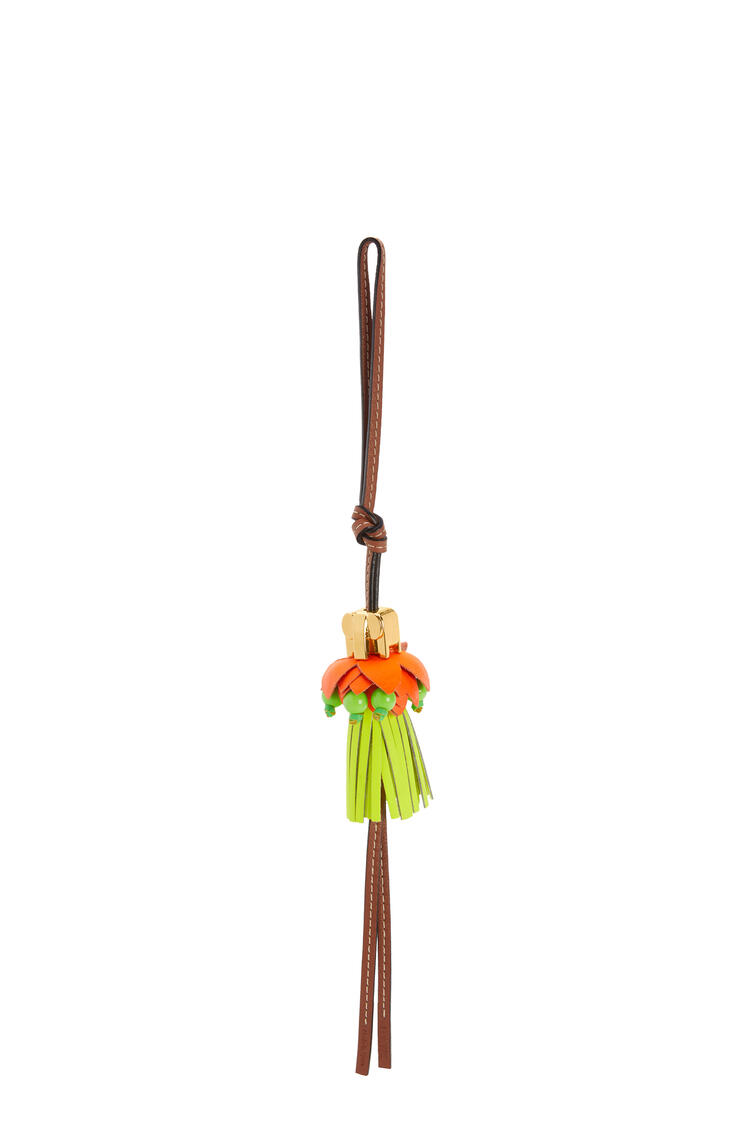 LOEWE Elephant on flower charm in calfskin Neon Orange/Neon Yellow pdp_rd