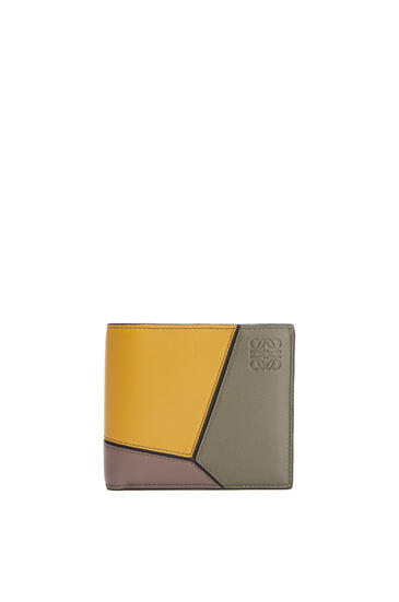 LOEWE Puzzle bifold coin wallet in classic calf Khaki Green/Ochre pdp_rd