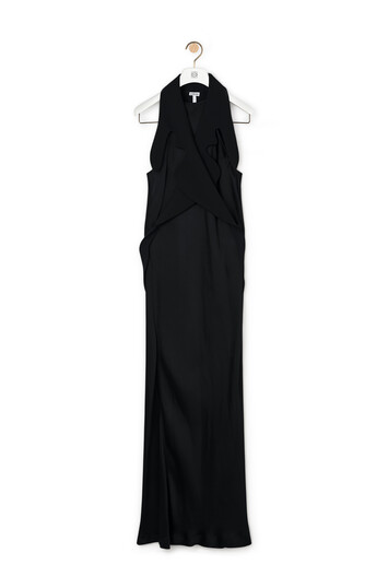 LOEWE Long Satin Dress Black front