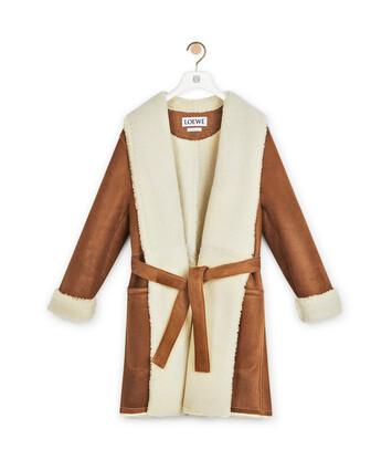 LOEWE Shearling Coat Dark Brown front