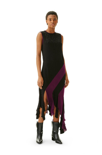 LOEWE Curl Dress Jacquard Black/Purple front