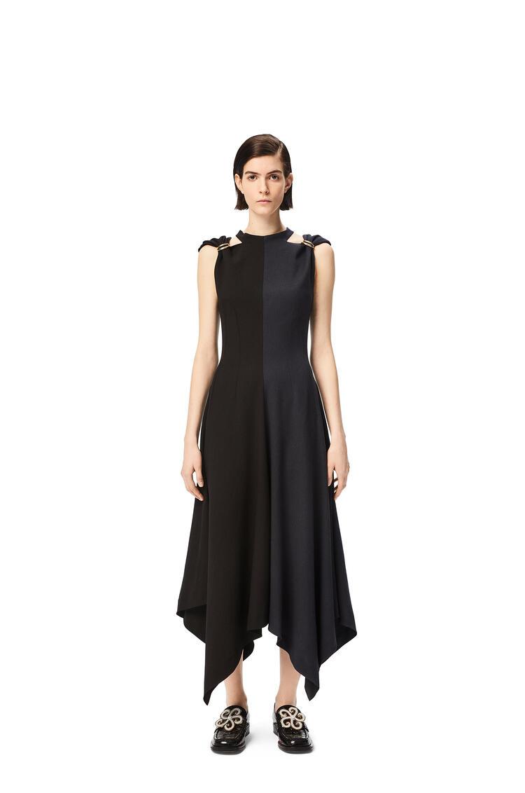 LOEWE D-ring midi dress in wool Black/Navy Blue pdp_rd