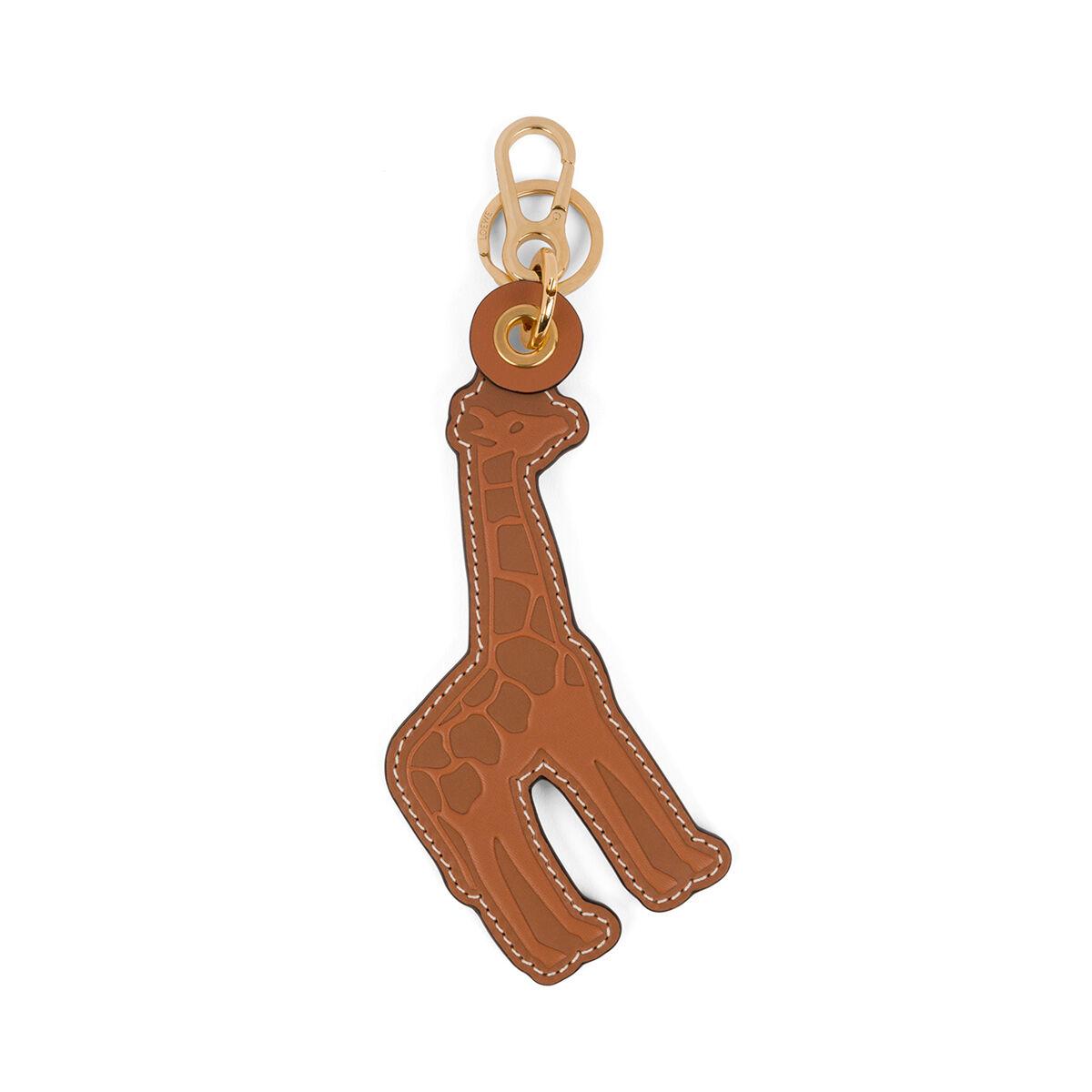 LOEWE Giraffe Leather Charm 棕褐色/黄色 all