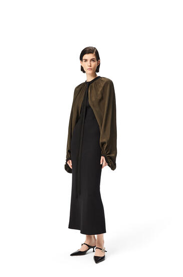 LOEWE Cape sleeve dress in wool and viscose Black/Khaki Green pdp_rd