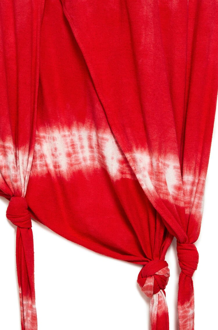 LOEWE Asymmetric knot dress in tie dye cotton and silk Red/White pdp_rd