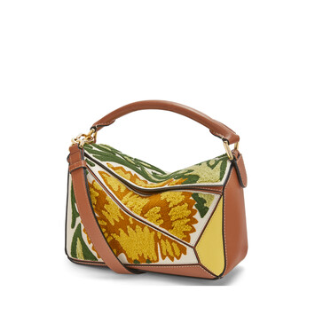 LOEWE Puzzle Floral Small Bag Yellow front