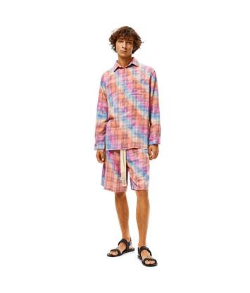 LOEWE Camisa De Algodón Tie Dye A Cuadros Multicolor front