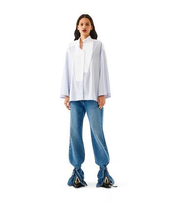 LOEWE Stripe Oversize Shirt Azul Bebe/Blanco front
