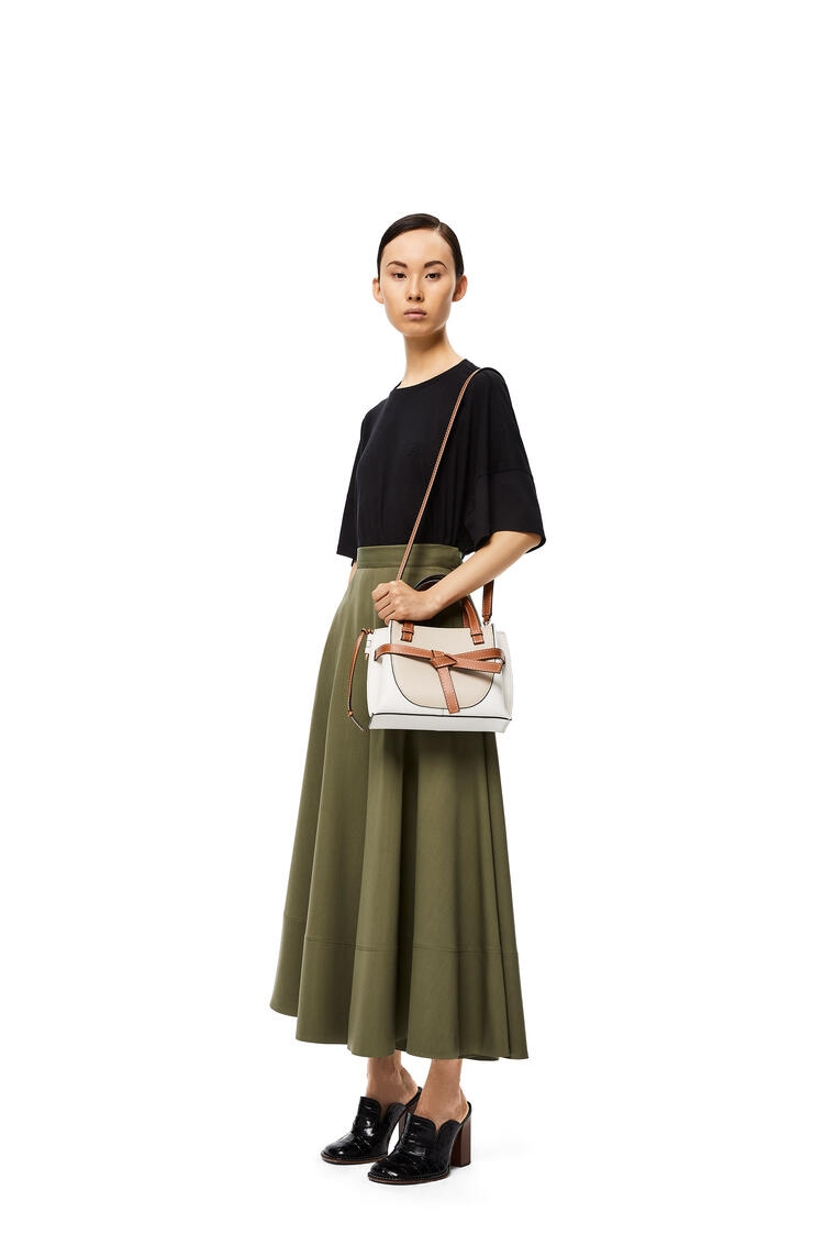 LOEWE Mini Gate Top Handle Bag In Natural Calfskin Light Oat/Soft White pdp_rd