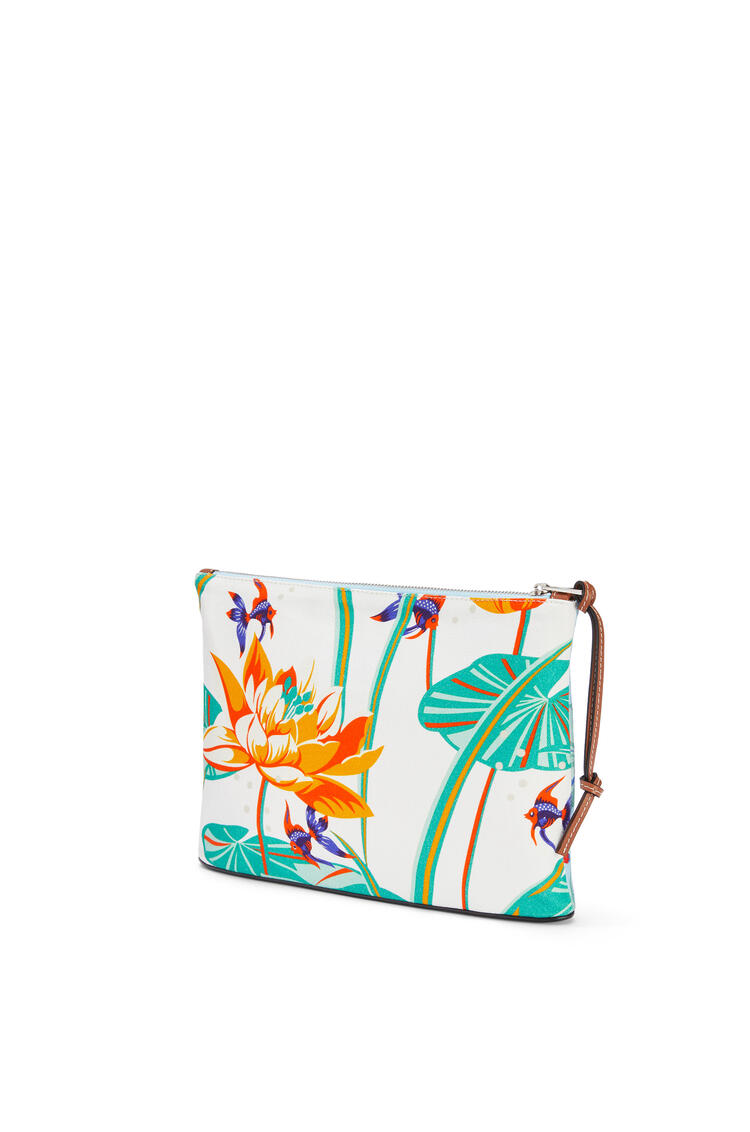 LOEWE Oblong Pouch In Waterlily Canvas Aqua/White pdp_rd