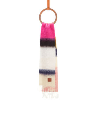LOEWE 23X185 Scarf Stripes Rosa/Negro front